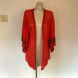 Kimono style jacket - embroidered trim